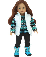 "3 Piece Winter Pants & Vest Set for 18"" Dolls fits American Girl Winter Clothes"