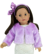 2 Piece Fur Jacket Set for 18In Dolls Lavender Fur Coat fits American Girl Dolls