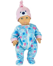 "15"" Babydoll  Fleece Sleeper w/Hat fits Bitty Baby Pajamas"