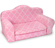 Pink Patterned Pull Out Sofa Double Bed
