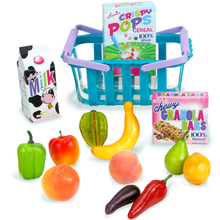 Grocery Basket and Food Set For 18 Inch Dolls