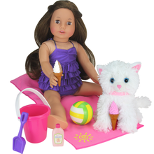 "7 Piece Beach Day Set for 18"" Dolls NEW!"