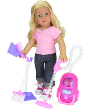 "Vacuum Cleaner & Accessories Set for 18"" Dolls"