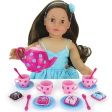 17 Piece Tea & Treats Set for 18 Inch Dolls fits American Girl Tea Set