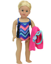 "18"" Doll Sport One Piece Bathing Suit 3 Piece Set fits American Girl Bathing Suit"
