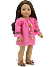 "Hot Pink Dress with Pom Pom Trim For 18"" Dolls"