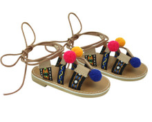 18 Inch Doll Strap Sandals with Pom Poms fits American Girl Doll Shoes