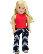 "Navy Stripe Sailor Pants & Red Tank Top For 18"" Dolls"