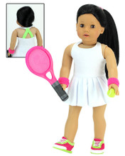 White Tennis Dress w/ Pleated Skirt 4 Pc. Set includes Racket and Ball fits American Girl Tennis Outfit