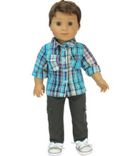 "Grey Cargo Pants 2 Pc. Set for 18"" Girl or Boy Dolls, fits American Girl Doll Pants Outfit"