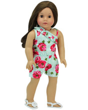 "Aqua Floral 18"" Doll Romper fits American Girl Doll Summer Clothes"