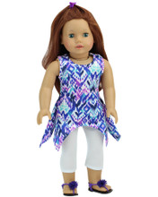 18 Inch Doll Leggings and Ikat Top 2 Piece Set fits American Girl Summer Clothes
