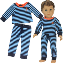 "18"" Doll Striped Boy or Girl Pajama 2 Piece Set"