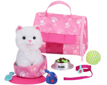 White Plush Kitten & Carrier 8 Piece Set