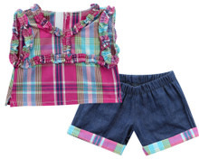 "Plaid Top & Denim Shorts Set Fits 15"" Baby Dolls"