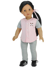 "Pink Baseball Uniform for 18"" Dolls"