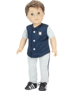 Sophia's Navy & Gray Baseball Uniform with Cleats on 18 Inch Boy Doll