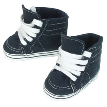 "Navy Suede High Top Sneakers For 18"" Dolls"