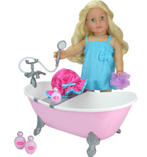 "Pink Clawfoot Bathtub & Accessory Set for 18"" Dolls"