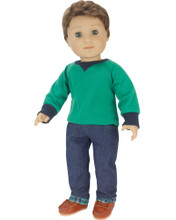 Flannel Lined Jeans and Green Shirt for 18 Inch Girl or Boy Dolls