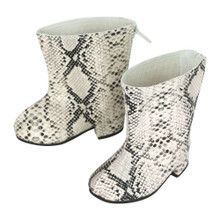 Ivory Snakeskin Print Boots for 18 Inch Dolls