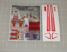 Transformers G1 Dirge Sticker Sheet with Factory Pre-applied Stickers.