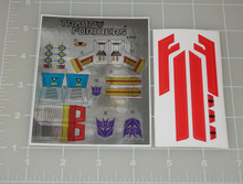 Transformers G1 Starscream Sticker Sheet with factory pre-applied stickers