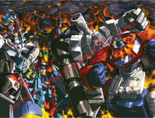 Transformers G1 Autobot vs Decepticon Optimus Prime vs Megatron Poster Canvas