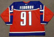 SERGEI FEDOROV 2002 Team Russia Nike Olympic Throwback Hockey Jersey