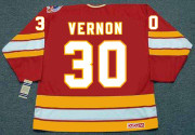 MIKE VERNON Calgary Flames 1989 CCM Vintage Throwback Away NHL Hockey Jersey