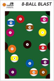 "Challenge your friends to a game of 8 Ball Pool with a twist. Shoot solids or stripes and finish with the 8 ball. (12"" x 18"" Splatter Target)"