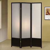 Three Panel Folding Screen in Black Finish