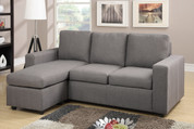 The 2PC Grey Linen Blend Reversible Sectional