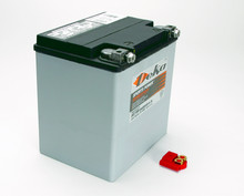 Pictured: Battery, ''Deka'' dry cell, Non-Spillable Race battery, 365 cold cranking amps, 21.7 lbs, 6.625 L x 5.1875 W x 6.875 H (Part #  BAT-ETX30L).