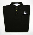 Shirt, polo short sleeve with pocket and snake logo, black, large