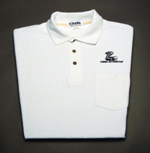 Shirt, polo short sleeve with pocket and snake logo, white, x-large