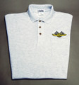 Shirt, polo short sleeve with pocket and checkered flag logo, gray, x-large