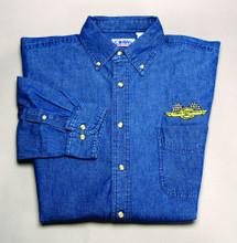 Shirt, denim long sleeve dress shirt, dark blue, medium
