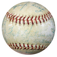 Cardinals & Braves Autographed Baseball With 33 Signatures Including Stan Musial, Eddie Mathews & Warren Spahn PSA/DNA #AA08273