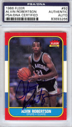 Alvin Robertson Autographed 1986 Fleer Rookie Card #92 San Antonio Spurs PSA/DNA #83893266