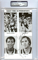 "John Brisker, ""Downtown"" Fred Brown & Dick Snyder Autographed 4.5x8 Cut Signature Seattle Sonics PSA/DNA #83894744"
