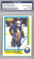 Tom Barrasso Autographed 1986-87 O-Pee-Chee Card #91 Buffalo Sabres PSA/DNA #83921168