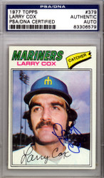 Larry Cox Autographed 1977 Topps Card #379 Seattle Mariners PSA/DNA #83306579