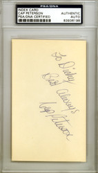 """Cap Peterson Autographed 3x5 Index Card San Francisco Giants """"To Dicky"""" PSA/DNA #83936198"""