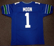 Seattle Seahawks Warren Moon Blue Jersey To Be Signed By Warren Moon