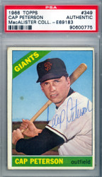 Cap Peterson Autographed 1966 Topps Card #349 San Francisco Giants PSA/DNA #90600775