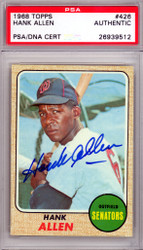 Hank Allen Autographed 1968 Topps Card #426 Washington Senators PSA/DNA #26939512