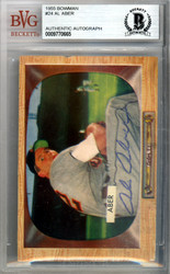 Al Aber Autographed 1955 Bowman Card #24 Detroit Tigers Beckett BAS #9770665