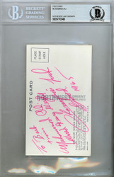 "Muhammad Ali Autographed 3x5.5 Postcard ""World Heavy Weight Champion"" Signed In 1965 Beckett BAS #9770048"
