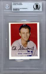 "Ed ""Eddie"" Stewart Autographed 1949 Bowman Reprint Card #173 Washington Senators Beckett BAS #9888149"